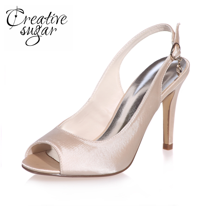 цена на Creativesugar concise slingback open toe woman satin dress shoes bridal wedding party banquet high heels white ivory silver blue