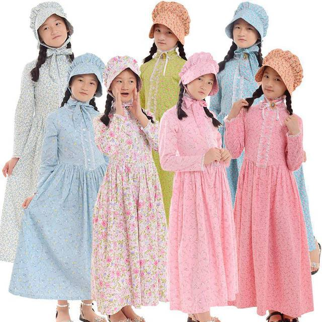 Colonial Dresses Costumes for  Girls Vintage Prairie Pioneer Victorian Medieval Long Sleeve Floral Outfits Kids Cosplay Dress