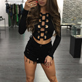 2016 Fashion Summer Women  Long Sleeve Sexy Deep V Neck Bandage Short Crop Tops Women Chest Lace Up Tops Shirt Plus Size