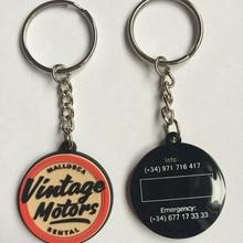 Логотип компании ПВХ рекламные цепочки для ключей Брелоки резиновые брелок индивидуальный логотип для обеих сторон chaveiros personalizado