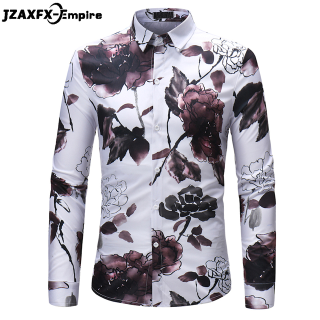 a152f2969a91e 2018 New Print Lotus Flower Shirts Men Fashion Slim fit Shirts camisa  masculina Hip Hop Deisgn Male Casual Long Sleeve Shirts