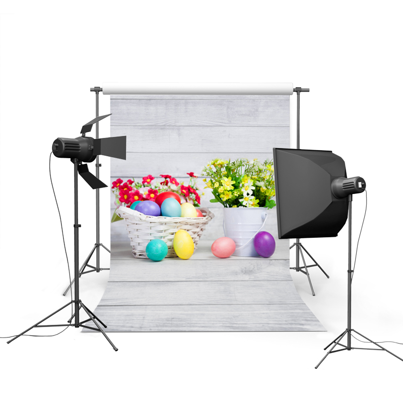 1.5MX2.2M Easter photography backdrops vinyl cloth background digital printed with muiti-colored eggs and flowers GE-044