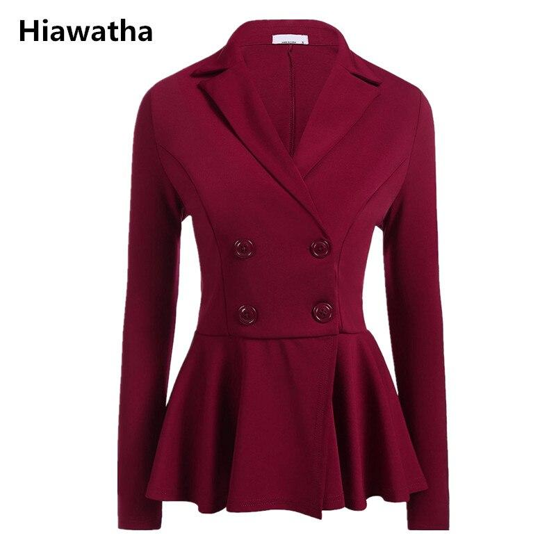 Hiawatha 2018 Mode Schlanke Frauen Blazer Jacke Einfarbig Zweireiher Büro Dame Blazer Weibliche Elegante Anzug Bl030 Online Rabatt Frauen Kleidung & Zubehör