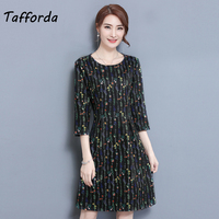 Tafforda 2018 New Women S Dress Spring Summer A Line Casual Style Printing Dress Show Thin