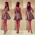 Gray Short Homecoming Dresses 2016 Elegant Lace Appliques Beaded Short Homecoming Gowns Simple A-Line Short Cocktail Dresses