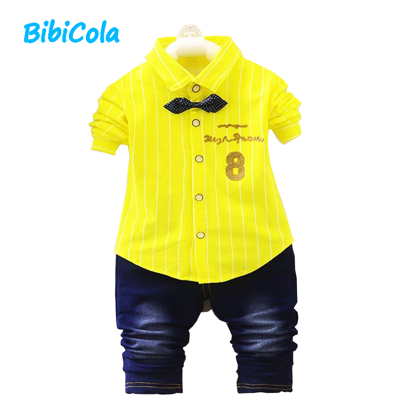 BibiCola Baby Boy Clothes 2017 Spring baby Clothes Sets Striped T-shirt + Pants Suit Clothing Set infant Boy Clothes Tracksuits