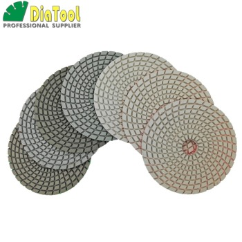 SHDIATOOL 7pcs/set 125MM/5inch Diamond Flexible Wet Polishing Pad White Bond Spiral Type Sanding Disc For Stone недорого