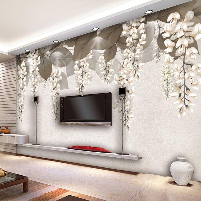 Flor pintado tapiz foto papel de parede para paredes papel - Murales papel pintado para pared ...