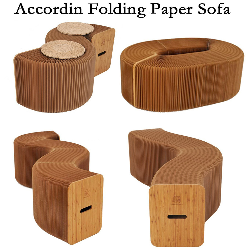 Creative Home Furniture Stool Softeating Modern Accordin Folding Paper Stool Sofa Chair Kraft Paper Foot Living & Dining Room excellent quality simple modern stools fashion fabric stool home sofa ottomans solid wood fine workmanship chair furniture