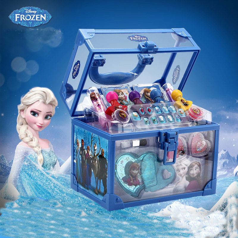 Disney Frozen Child Cosmetic Princess Makeup Box Suitcase Lipstick Girl Toy Gift for Children pretend play cosmetic set for kid bracelet