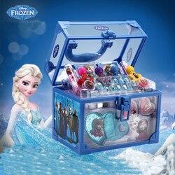 Disney congelado criança cosméticos princesa caixa de maquiagem mala batom menina brinquedo presente para crianças fingir jogar cosméticos conjunto para o miúdo