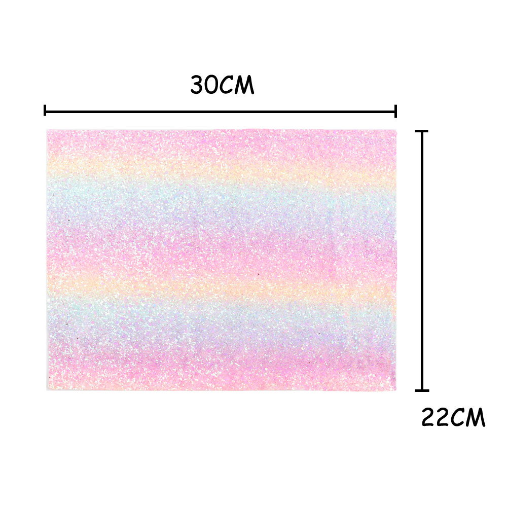 IBOWS 22 30CM Glitter Synthetic Leather Fabric Gradient Rainbow Chunky Glitter Fabric Wedding Decoration DIY Hairbows Materials in Fabric from Home Garden