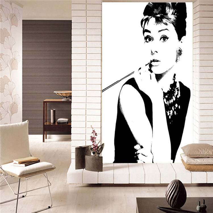 Elegant Audrey Hepburn Wall Mural POP Art Photo Wallpaper Canvas Silk  Classic Black And White Wallpaper Room Decor Bedroom In Wallpapers From  Home ... Part 26