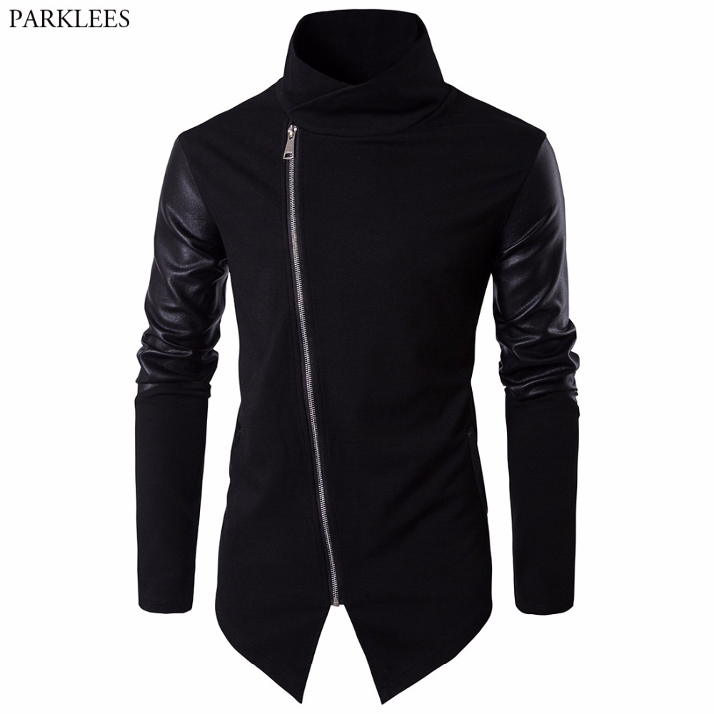 2017 Newest Men Jackets Fashion Autumn Winter Coat PU Leather Long Sleeve Turtleneck Sli ...