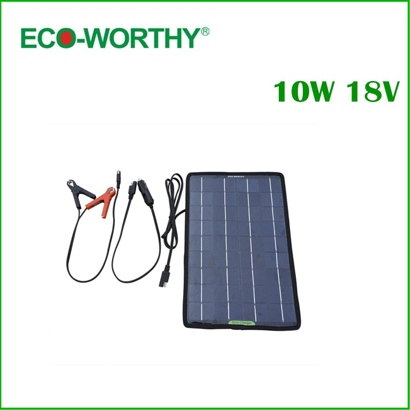 ECO-Worthy 18V 10W Portable Solar Panel Multi-Purpose Solor Charger for 12V battery Cars Boat Motorcycle Solar Panel Charger lumintop tool aaa cree xp g2 r5 110lm mini keychain led flashlight