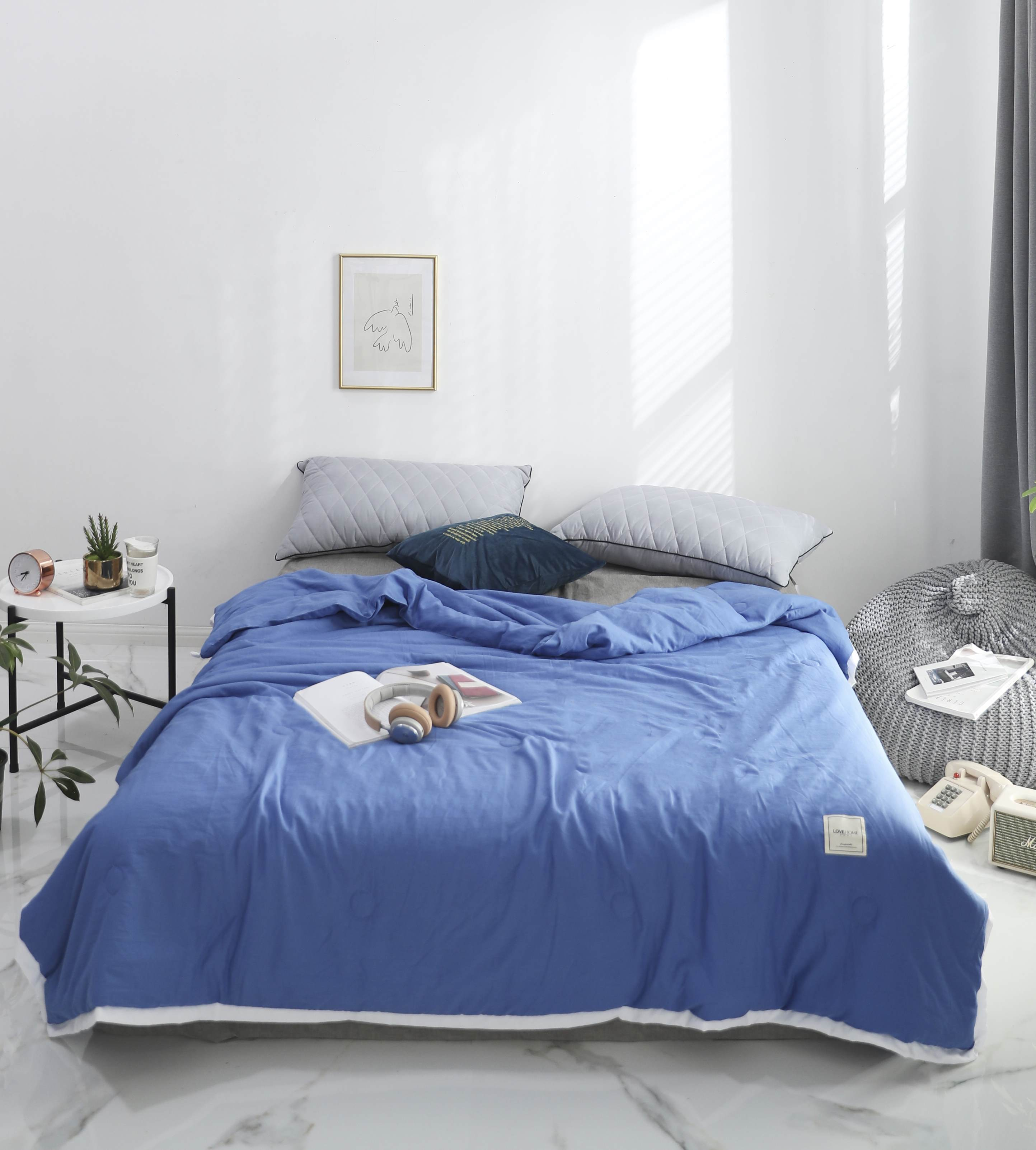 Solid Blue knot Bedspread Summer Quilt Tencel Blanket Comforter Bed Cover Quilting Home Textiles in Quilts from Home Garden