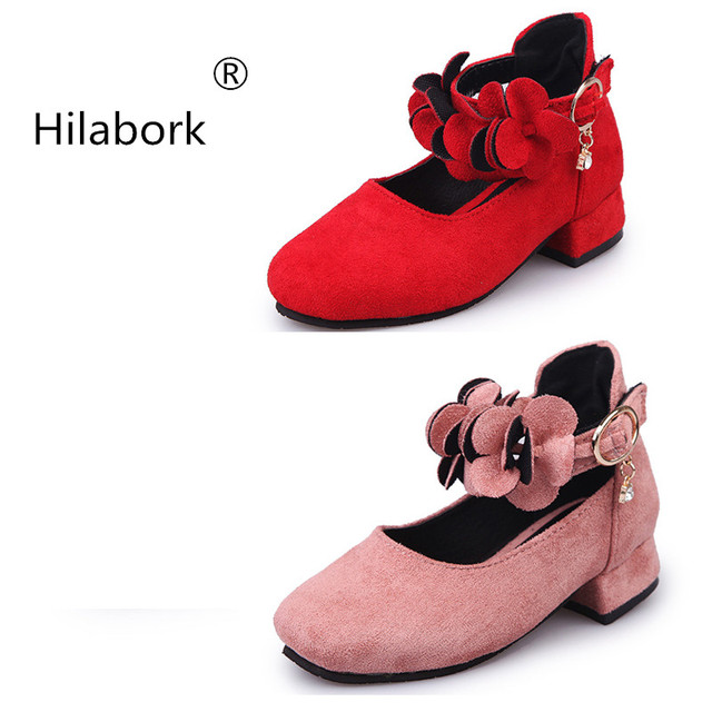 Hilabork Spring and Autumn new cute flowers girl leather high-heeled popular  girls princess shoes bd5245dbe804