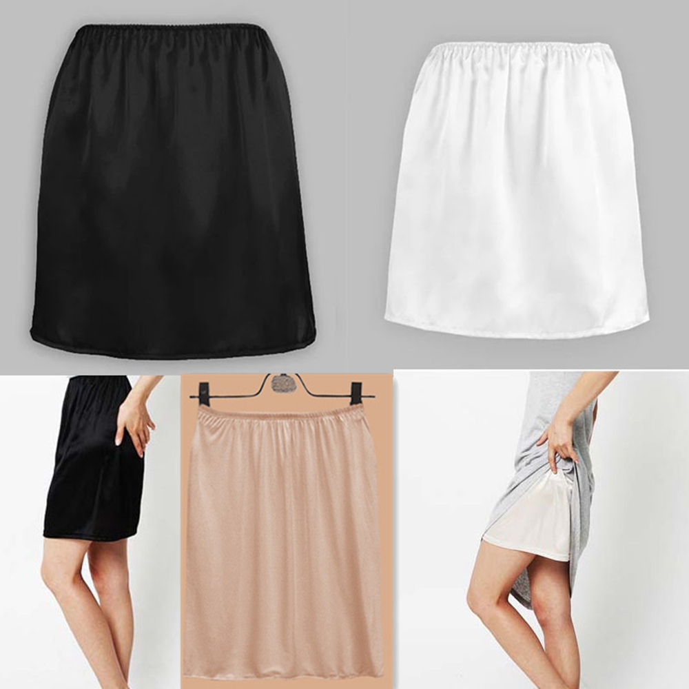 Women Satin Half Slip Underskirt Petticoat Under Dress Mini Skirt Safety Skirt Female Loose Anti-exposure Safety Skirts New