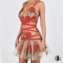 Зимние женские сетчатые Мини Вечерние платья с цветочной вышивкой V ремешок на шею, через плечо красное платье женское сексуальное Бандажное платье Vestidso