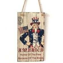 Vintage Wooden Hanging Plaque Home Of The Free Because Brave Sign Board Wall Door Decoration Independence Day Party