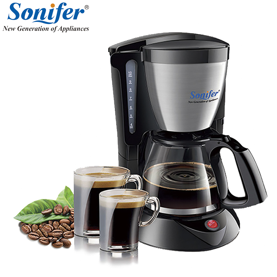 1.25L Electric Drip Coffee Maker household large coffee machine 12 cup tea coffee pot 220V Sonifer household fully automatic coffee maker cup portable mini burr coffee makers cup usb rechargeable capsule coffee machine