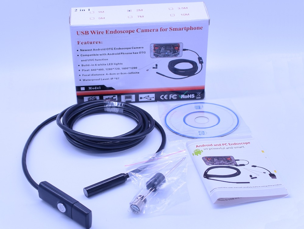 2 In 1 usb endoscope camera 1600x1080P For computer and mobile dual purpose 5m franke bibliotheca cardiologica ballistocardiogra phy research and computer diagnosis