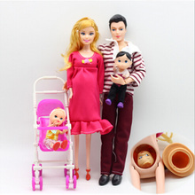 1Set Family 5 People Dolls Suits 1 Mom /1 Dad /1 Girl /1 Boy/1 Baby Carriage Real Pregnant Doll Gifts