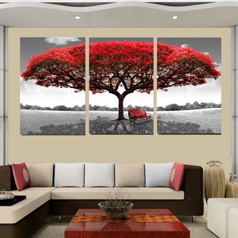 Pintura cuadros marcos modernos para pinturas 3 panel Árbol rojo ...