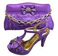 2015 Newwest GF13 Purple shoes for wedding dress,High quality Italian shoes matching bag set for Elegant women.