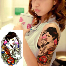 Beauty Wolf Print Temporary Tatto Sexy Men Women Waterproof Tattoo Sticker Fake Tattoo Arm Sleeve Body Tattoo Shoulder Tattoos