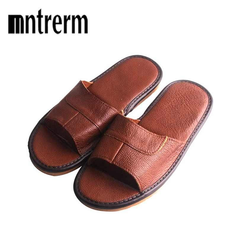 e583485f89a 2018 New Leather Slippers Men Home Furnishing Indoor Floor Classic Footwear  Casual Slides Leather Sandalias Zapatos