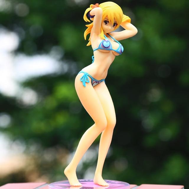 18CM Anime Fairy Tail Lucy Sexy Swimsuit Girl Heartfilia Bikini 1/8 Scale  PVC Action