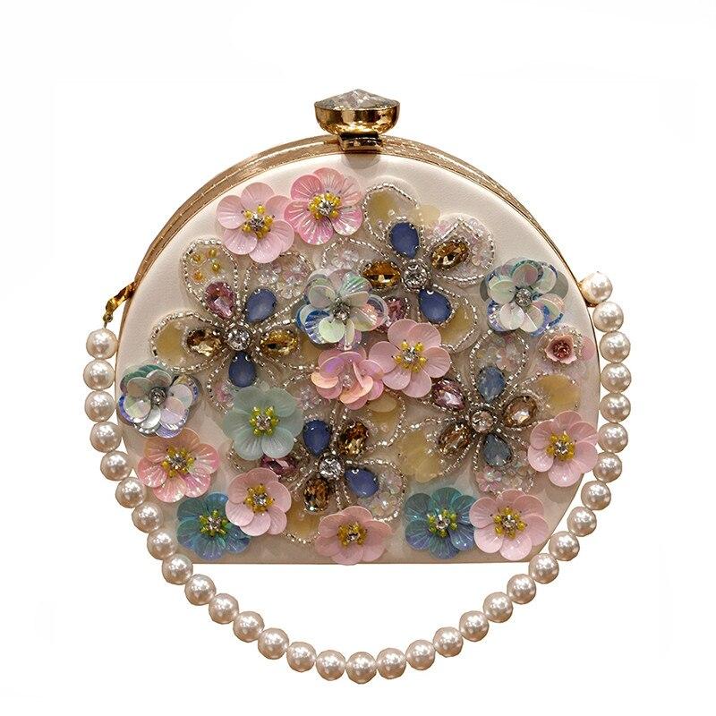 2018 вечерние клатчи ручной работы с цветами, круглые мини клатчи, свадебные вечерние сумочки с жемчужной цепочкой