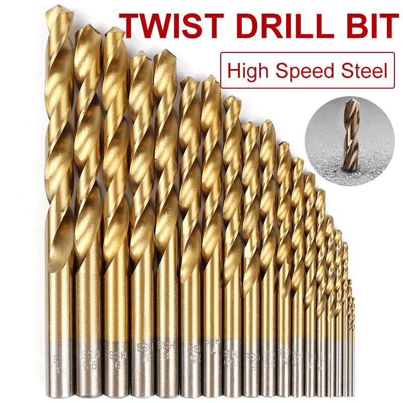 19pcs Straight round shank High Quality Mini Twist Drill Bit HSS Plating Titanium Saw Woodworking Metal Platic Drilling Tools 19pcs hss titanium twist drill bit set high speed steel straight round shank 1 10mm durable power tools for metal drilling