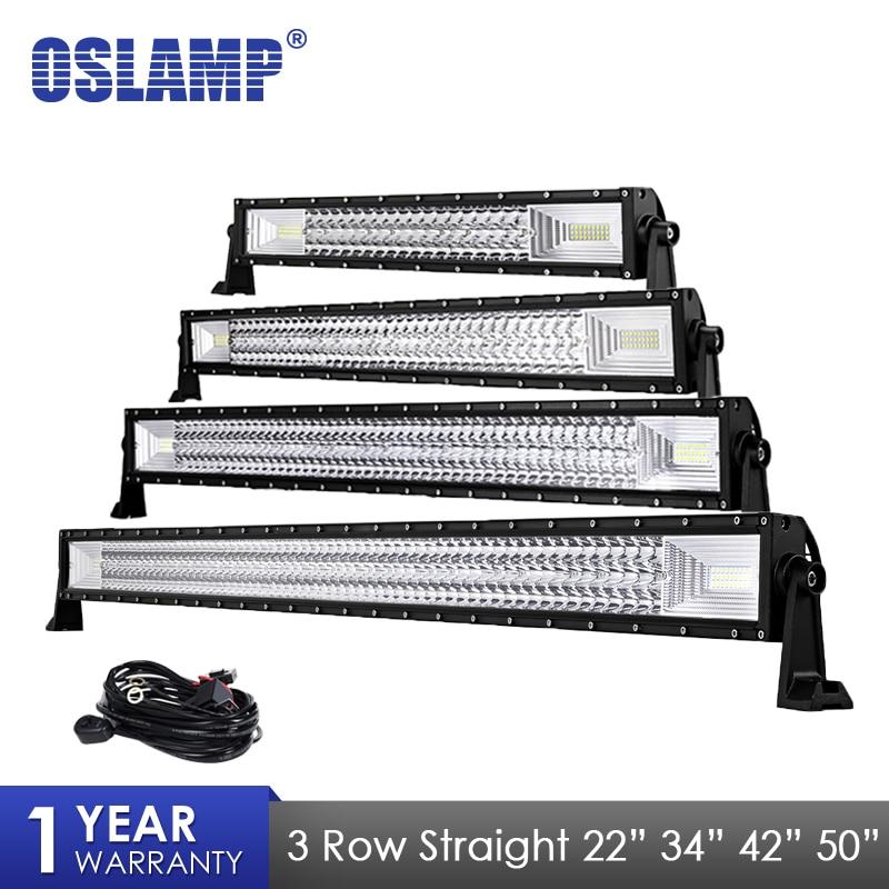 Oslamp 3 Row 22 34 42 50 Car Straight LED Light Bar Led Work Lights Combo
