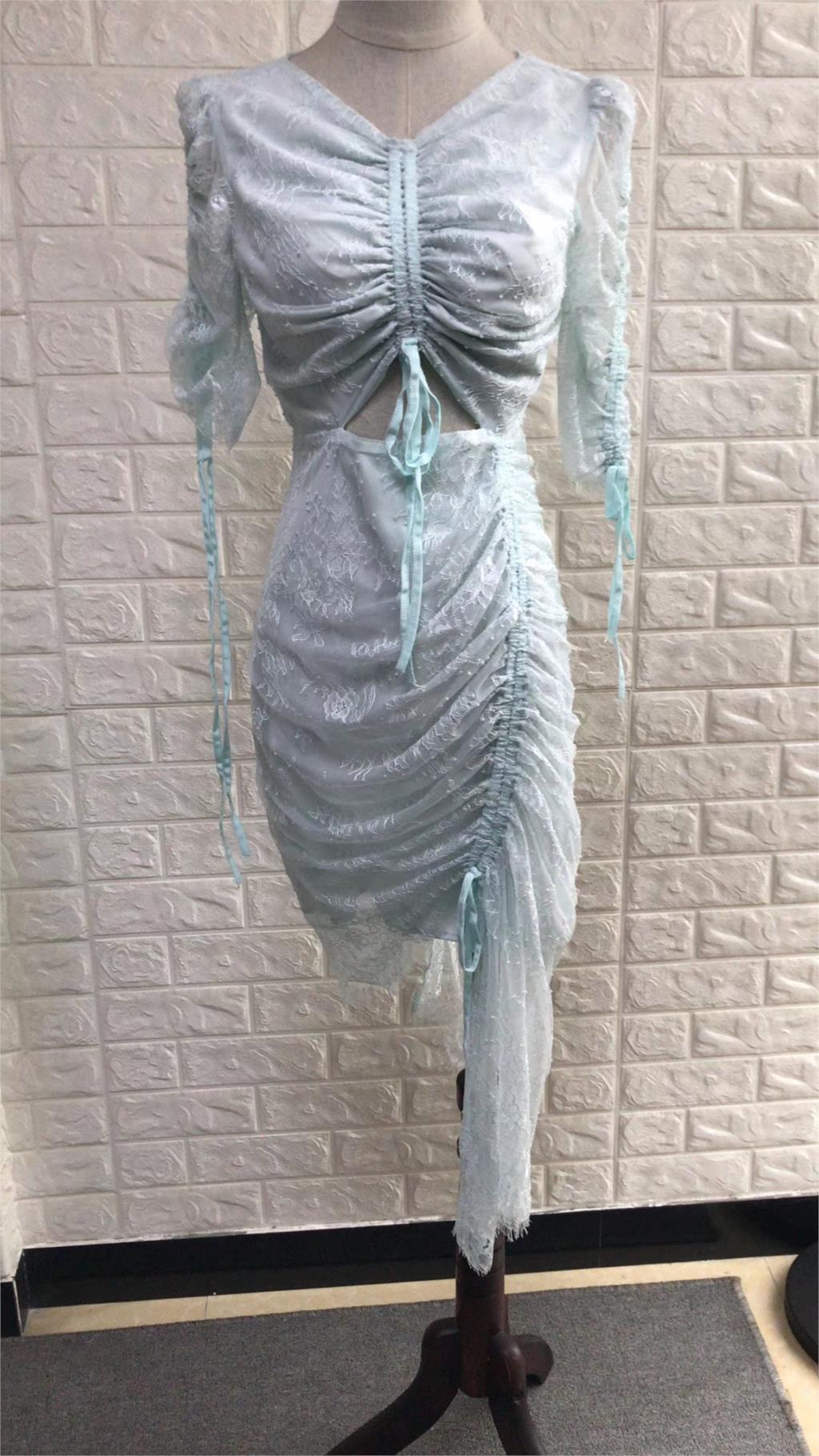 Fold Più 2019 Del Formato Manicotto Estate New Mezza Pizzo Cielo Maxi Azzurro Vendita Irregolare Diretta Delle Coulisse Abito Donne Soffio Vestito Di Il Femminile rzIpr0R