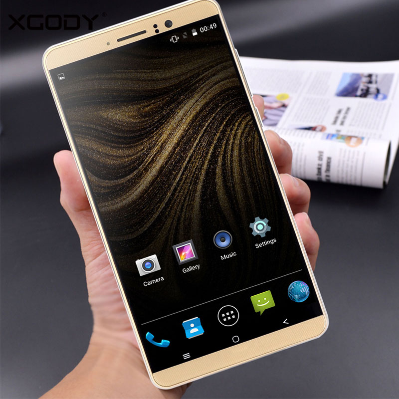 XGODY Smartphone 6.0 Inch Quad Core Dual SIM Cards 1GB RAM+8GB ROM Android 5.1 MTK6580 WCDMA 3G Unlocked Cell Phones