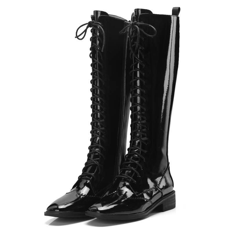Bottes 2018 Talons Carré Automne Casual Memunia Up Femme Chaussures noir Genou Mode Qualité Femmes Top Haute Zipper Dentelle Bout Beige E9HWDIYe2b
