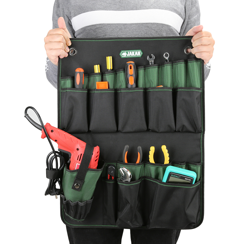 JAKAH Hanging Storage Bag Electrical Maintenance Tool Bag Hanging Wall Tool Pouch