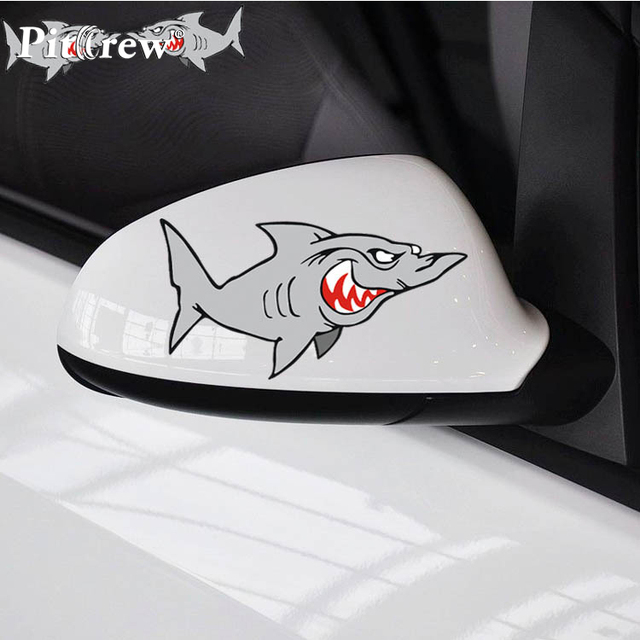 1Pair 14*8cm Tiger Shark Car Stickers Mad Shark Reflective Vinyl Car Styling Waterproof  Truck Decor Car Body Car Accessories