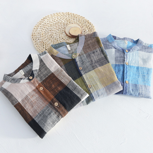 Mens Linen Cotton Shirts Patchwork Long Sleeve Casual Shirt Men Summer Mandarin Collar Social Business Dress Shirts Male TS-339