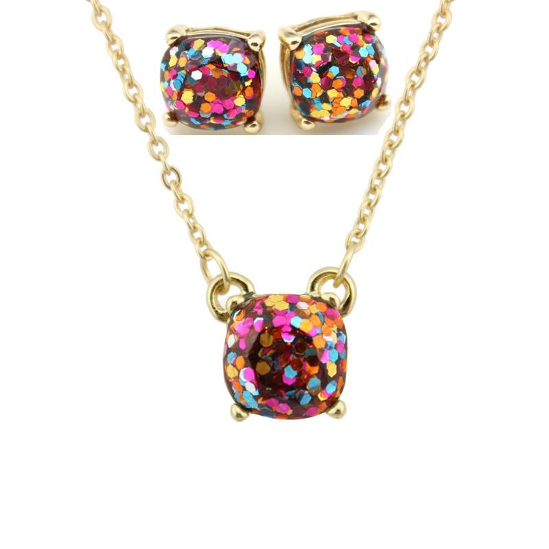 Moda ks altın küçük kare opal glitter kolye küpe setleri - Kostüm mücevherat - Fotoğraf 6