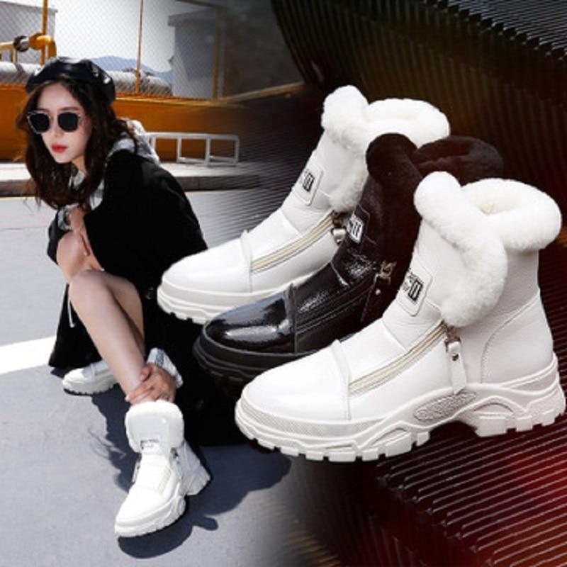 Cuero 1 Invierno Pintura Mujeres De 2 Las Engrosamiento Algodón Más Otoño Zapatos Y Diario Nieve Botas Terciopelo Nuevo Martin Salvaje pOgExwRpUq
