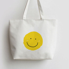 Cartoon Yellow Smile Face Expression Japanese Anime Canvas Tote bag Shopping bags school Shoulder AN388