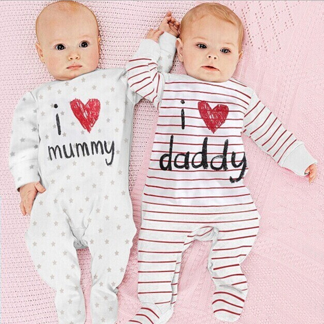 2b903c9b0f67 Cute Baby I Love Mummy Daddy Letters Striped Stars Print Long Sleeve Romper  Toddler Cotton One-piece Jumpsuit Boys Girls Clothes