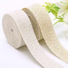 50 Yards/Roll 10mm/15mm/20mm/25mm 100% Cotton Herringbone Twill Silver/Gold Wire Beige Webbing Tape Garment Sewing Ribbon