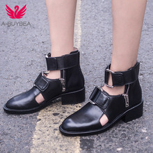 A-BUYBEA 2019 New Spring Autunm Women Real Leather Ankle Boots Fashion Street Party Shoes Zipper Sexy Short