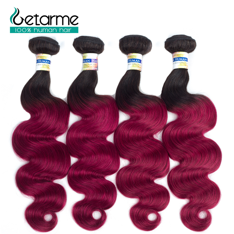 1b/burg Ombre Human Hair Bundles Brazilian Body Wave Dark Roots Hair 4 Bundles 100% Huma ...