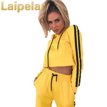 Laipelar Women Long Sleeve Tracksuit Female Yellow Striped Two Piece Set Suits 2018 Autumn Winter Hoodie Cropped Tops and Pants