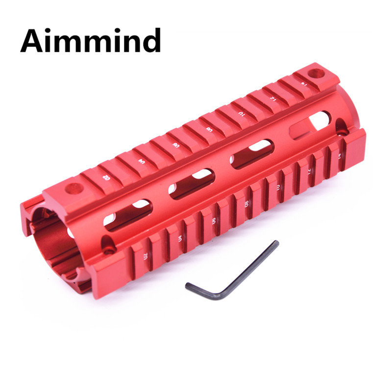 US $22 86 |6 7 Red Inch AR 15 M4 Handguard Carbine RIS Quad Rail Picatinny  Mounting 4 holes Tactical Airsoft Rifle Gear Gun Accessories -in Scope